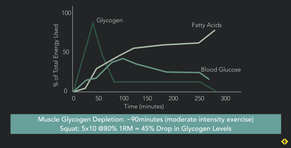 The first time I studied this graph I was shocked - glycogen is such a finite resource, and it runs out really fast