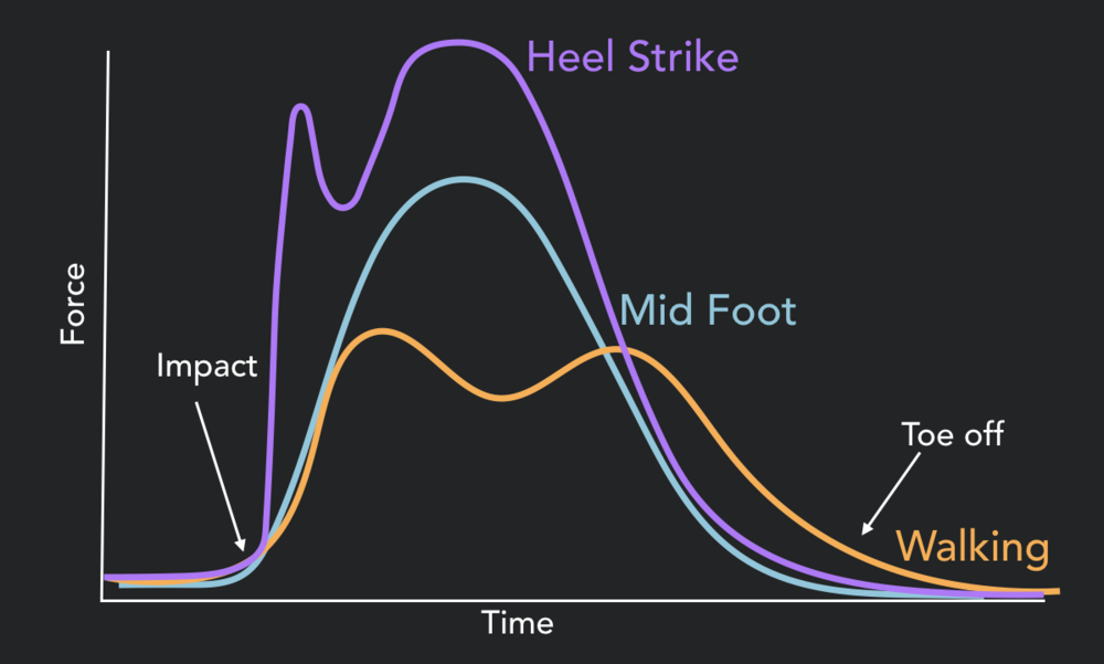 Ground reaction force differences between a heel strike, mid foot strike and walking gait