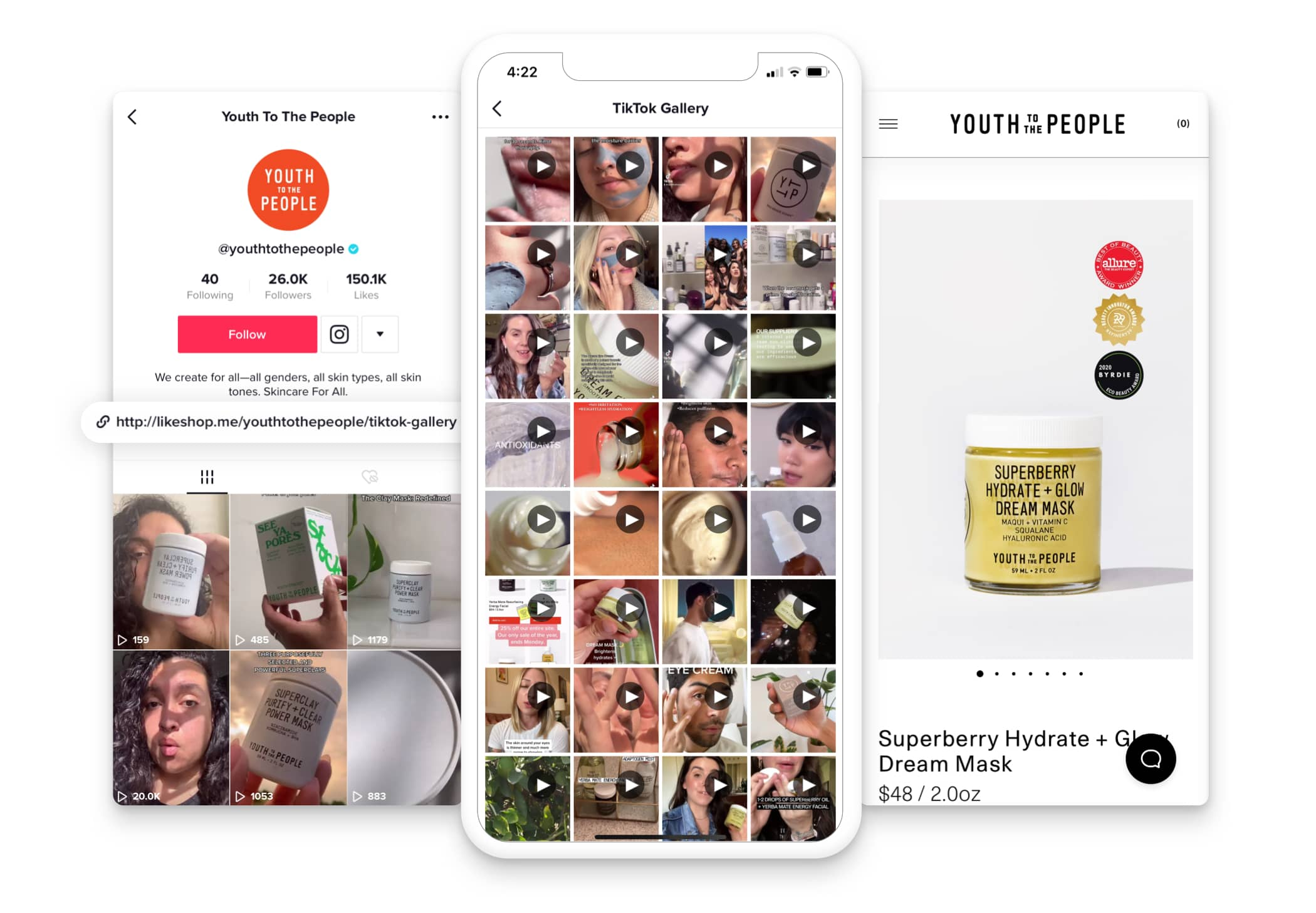 Youth To The People using a Dash Hudson Spirit Gallery URL on TikTok