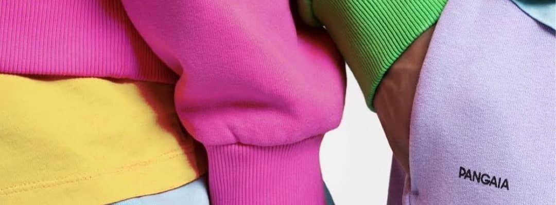 Close-up image of colourful sweatshirts