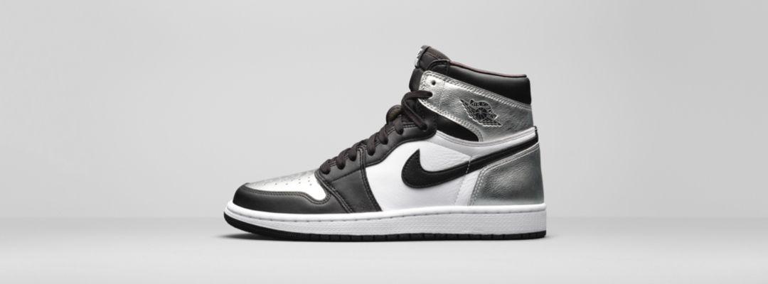 Black and white Air Jordan sneakers