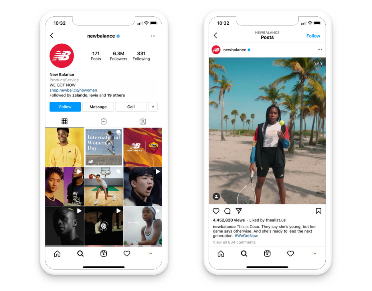 Video engagement social media New Balance's Instagram page on mobile