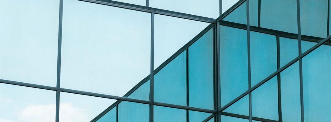 Close up shot of a glass building