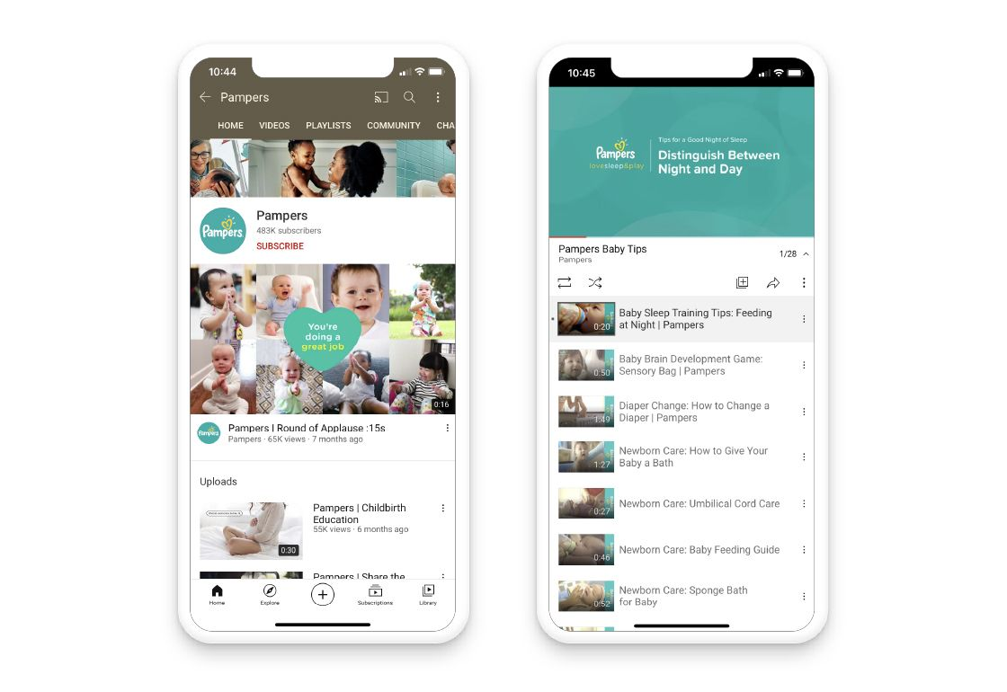 Pampers' YouTube channel in an iPhone mockup