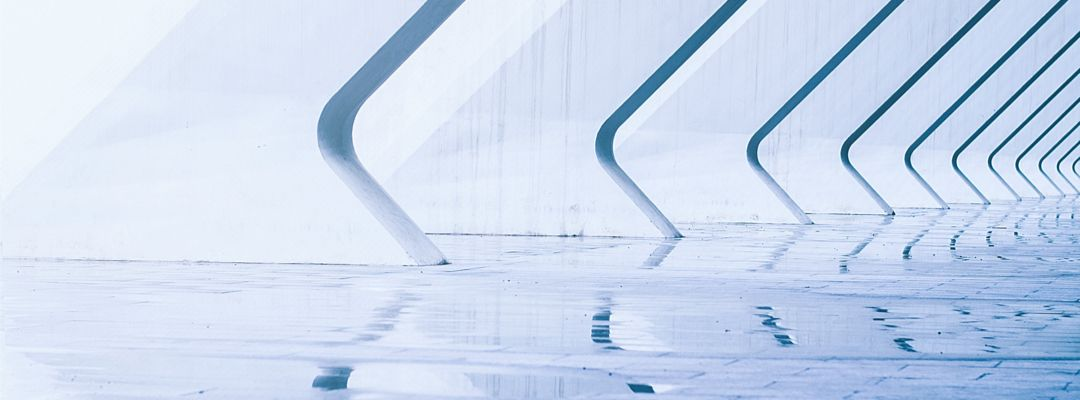 Abstract architecture with a wet walkway