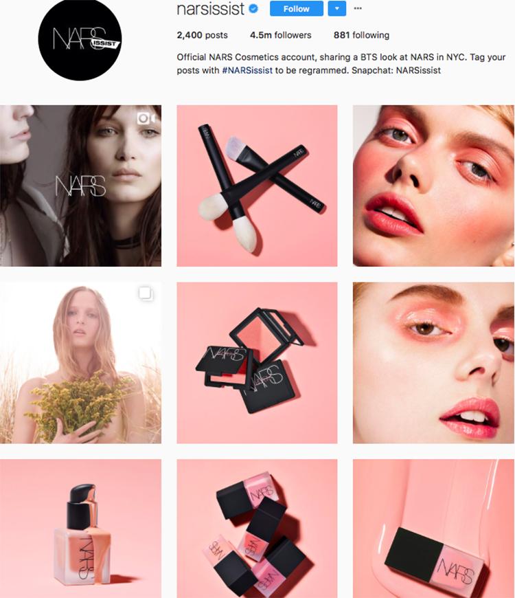 nars narsissist beauty brands makeup brands list instagram beauty brands to follow on instagram