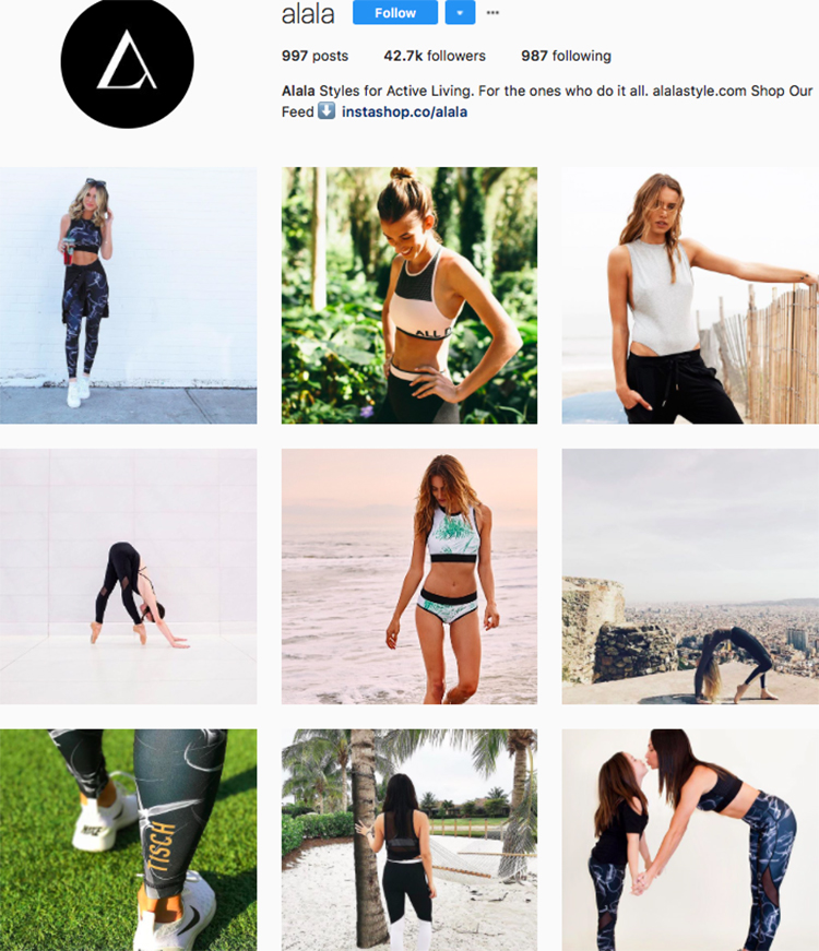 alala top athleisure brand best accounts to follow on instagram