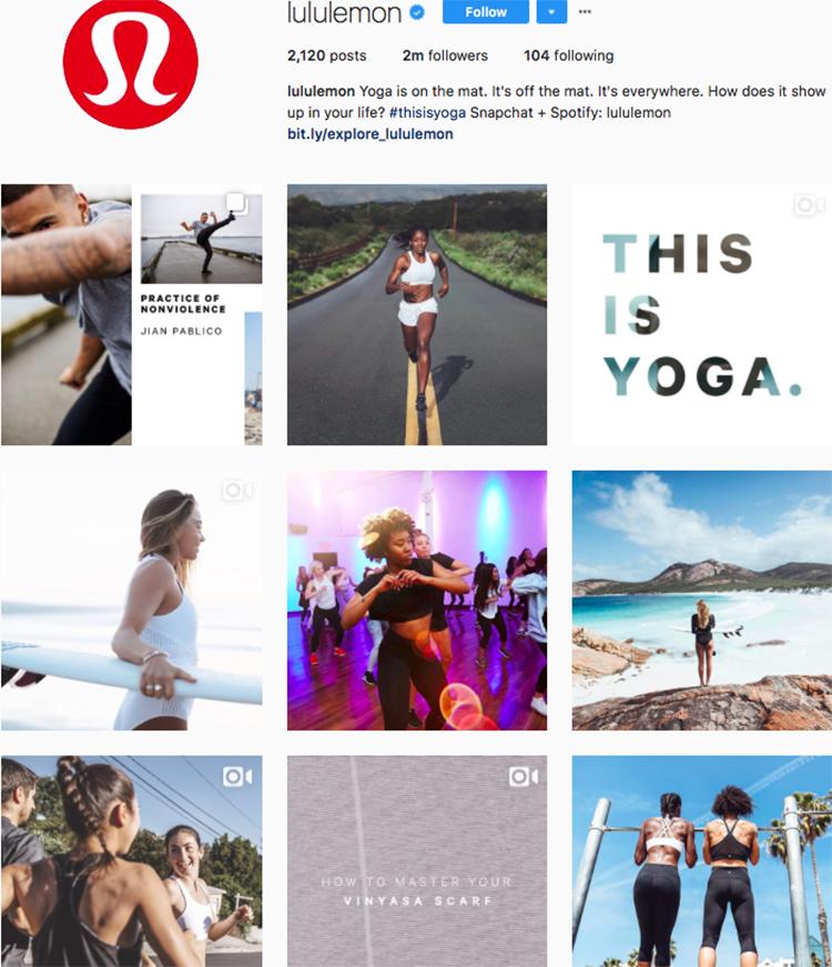 lululemon top athleisure brand best accounts to follow on instagram
