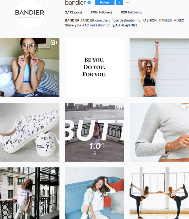 bandier top athleisure brand best accounts to follow on instagram