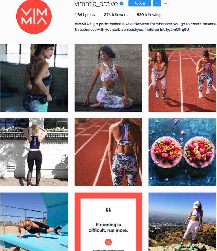 vimmia active top athleisure brand best accounts to follow on instagram