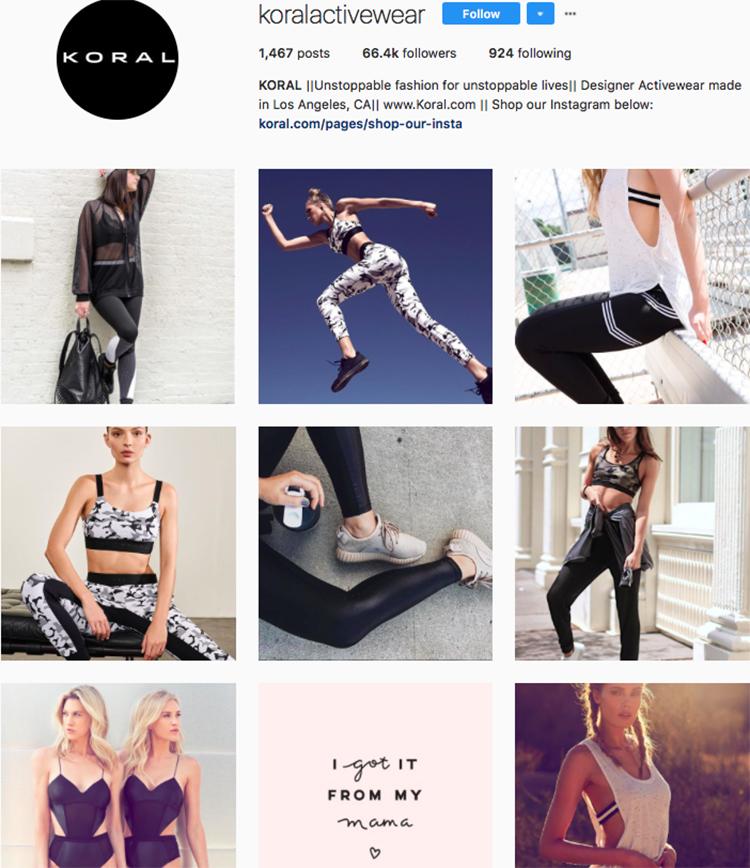 koralactivewear top athleisure brand best accounts to follow on instagram