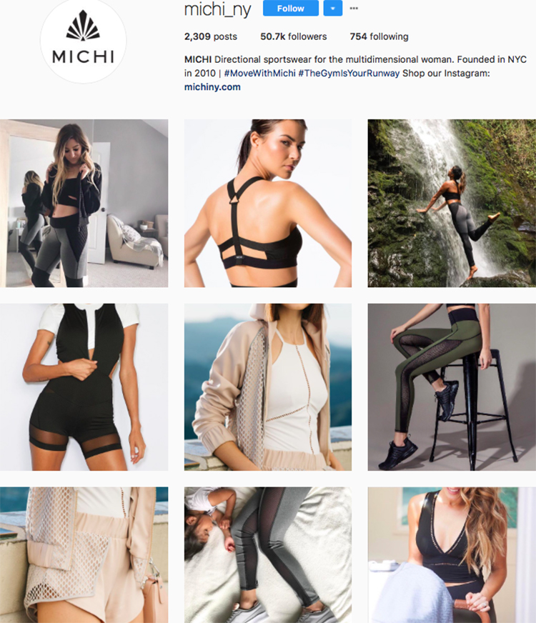 michi ny top athleisure brand best accounts to follow on instagram