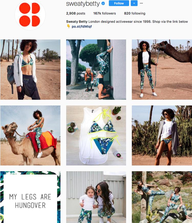 sweatybetty top athleisure brand best accounts to follow on instagram