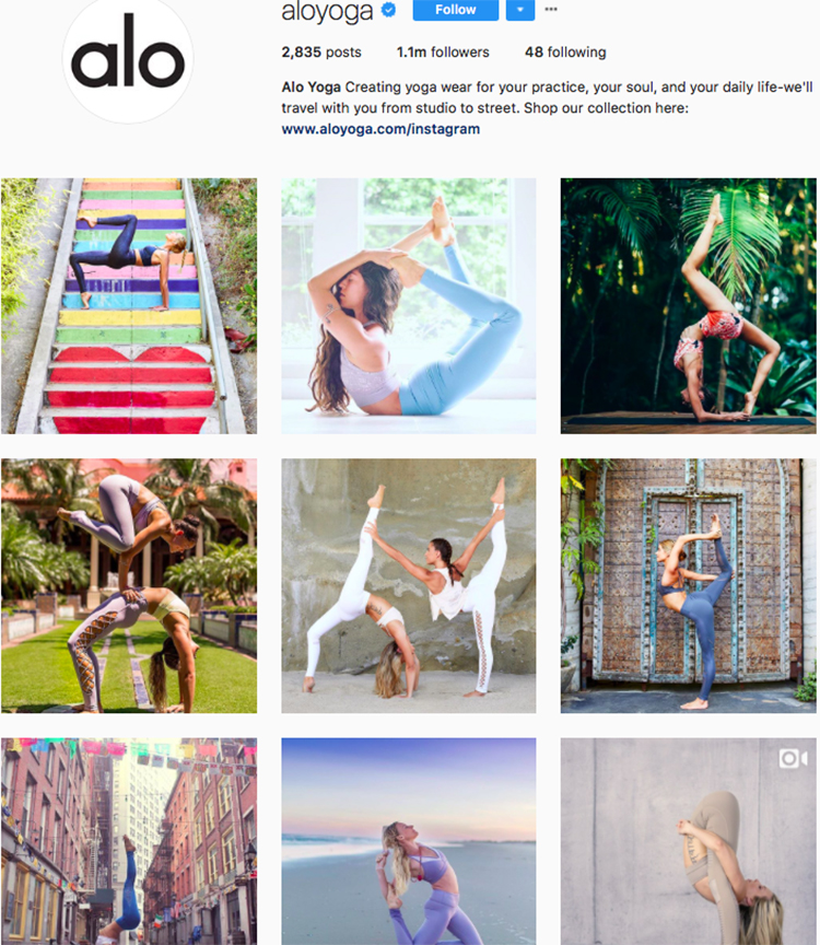 alo yoga top athleisure brand best accounts to follow on instagram