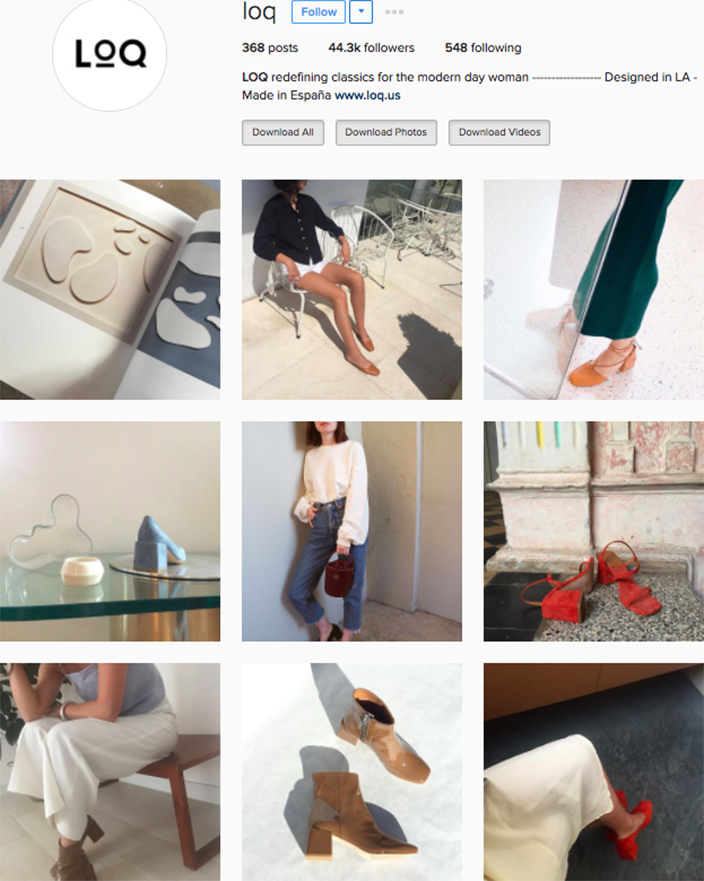 who to follow Instagram cool girl indie brands LOQ