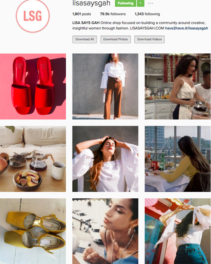 who to follow Instagram cool girl indie brands lisa says gah