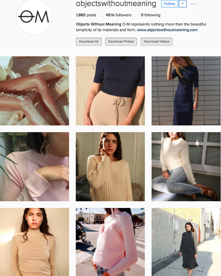 who to follow Instagram cool girl indie brands objects without meaning