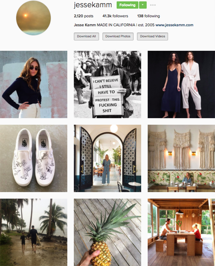 who to follow Instagram cool girl indie brands jesse kamm
