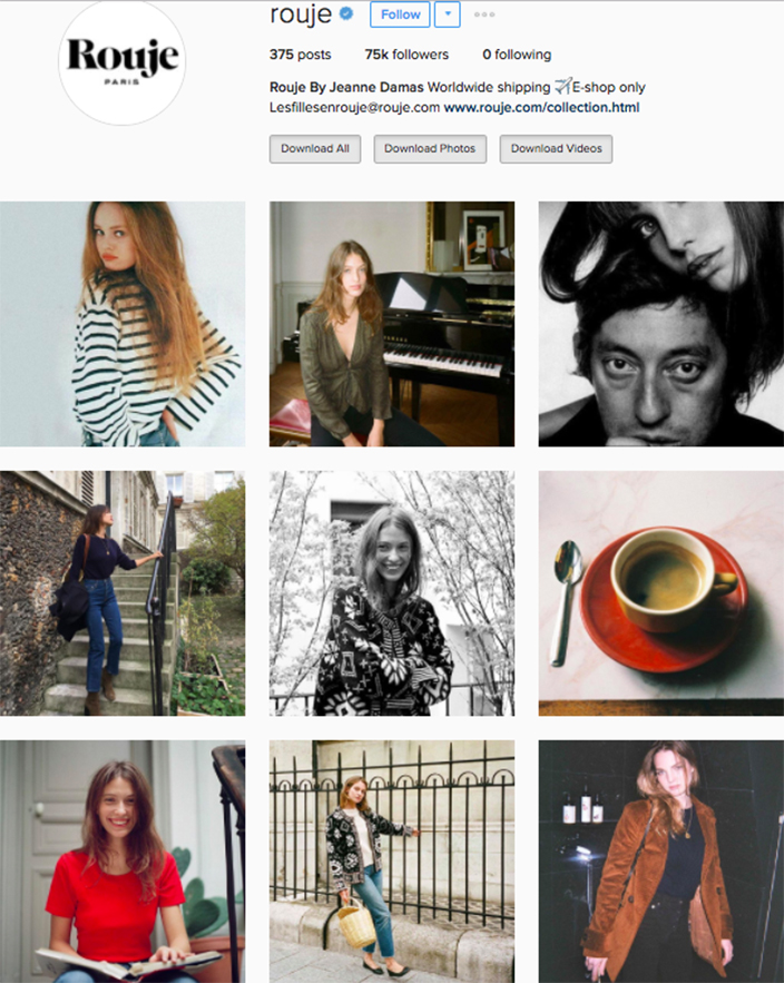 who to follow Instagram cool girl indie brands rouje