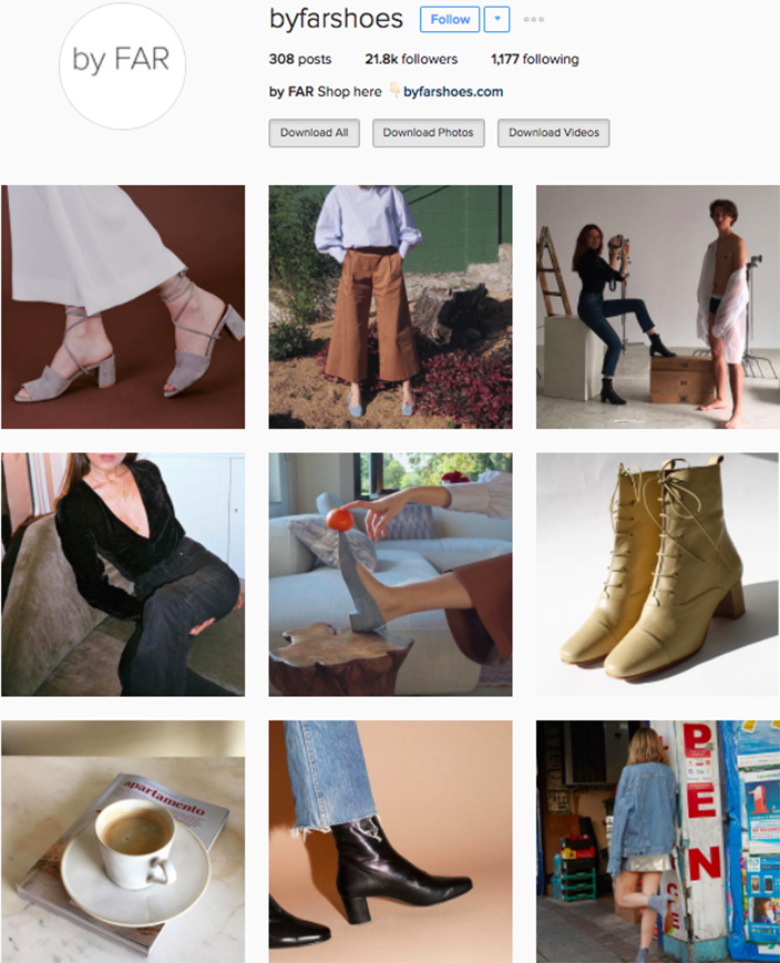 who to follow Instagram cool girl indie brands by far shoes