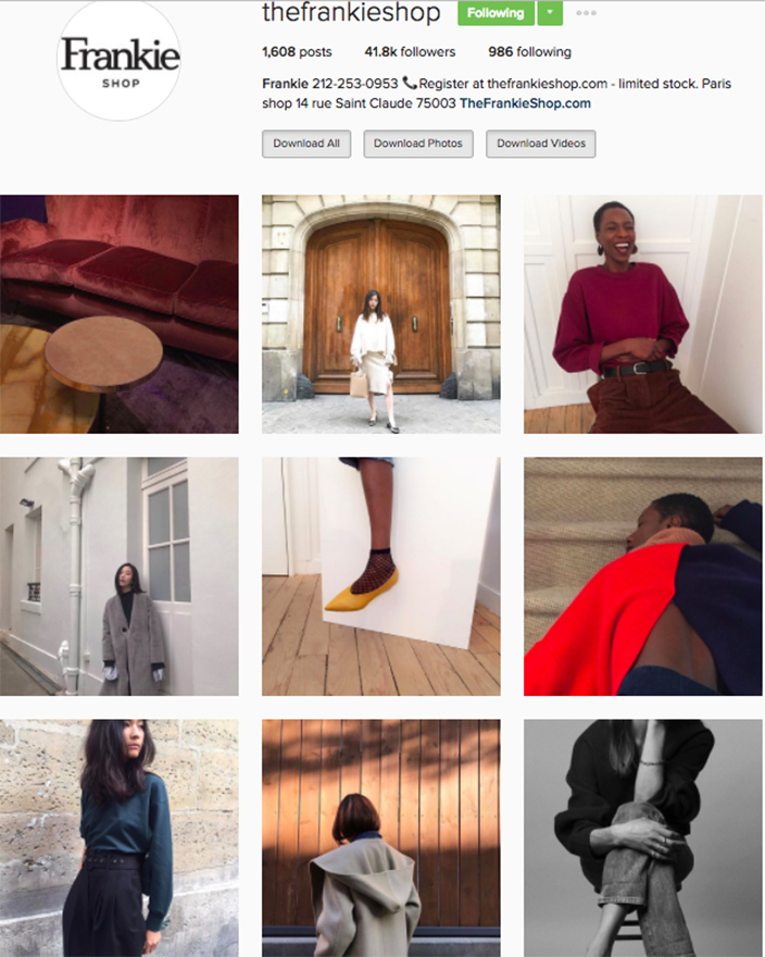 who to follow Instagram cool girl indie brands the frankie shop