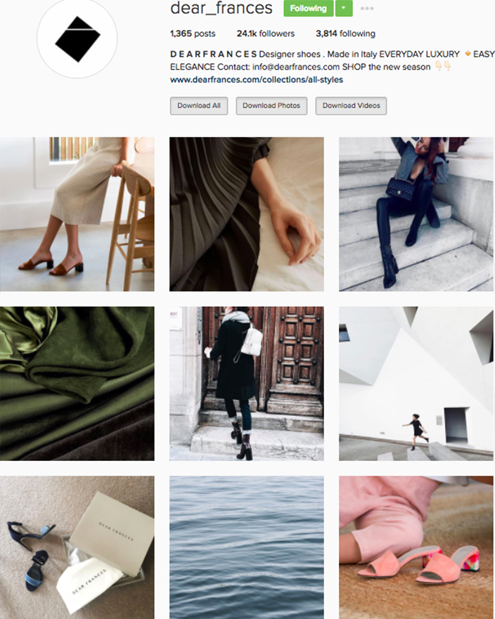 who to follow Instagram cool girl indie brands dear frances