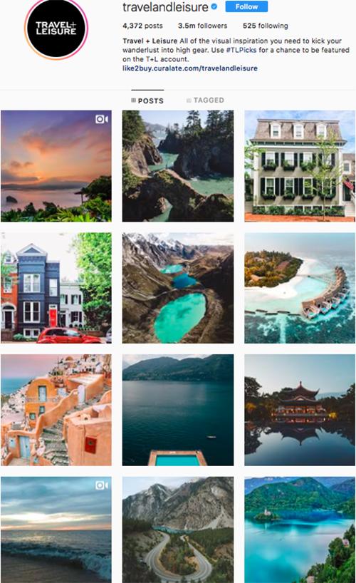 travel instagram, instagram accounts to follow, travelandleisure