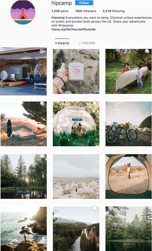 travel instagram, instagram accounts to follow, hipcamp
