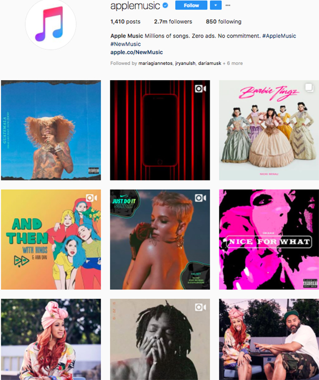 best instagram accounts for music lovers, top music Instagram accounts, who to follow on Instagram 2018, music instagram accounts, apple music