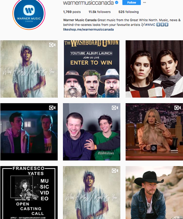 best instagram accounts for music lovers, top music Instagram accounts, who to follow on Instagram 2018, music instagram accounts, warner brothers records