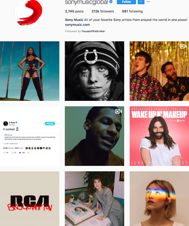 best instagram accounts for music lovers, top music Instagram accounts, who to follow on Instagram 2018, music instagram accounts, sony music