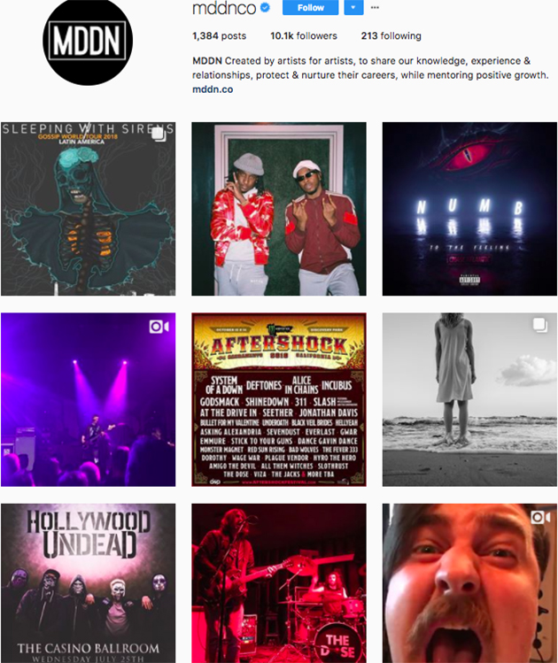 best instagram accounts for music lovers, top music Instagram accounts, who to follow on Instagram 2018, music instagram accounts, MDDN