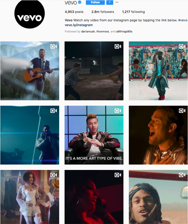 best instagram accounts for music lovers, top music Instagram accounts, who to follow on Instagram 2018, music instagram accounts, vevo