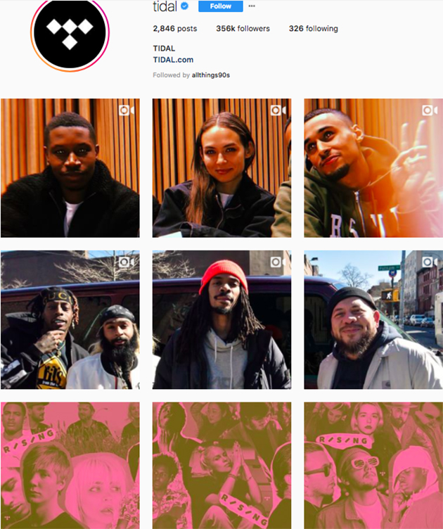 best instagram accounts for music lovers, top music Instagram accounts, who to follow on Instagram 2018, music instagram accounts, tidal