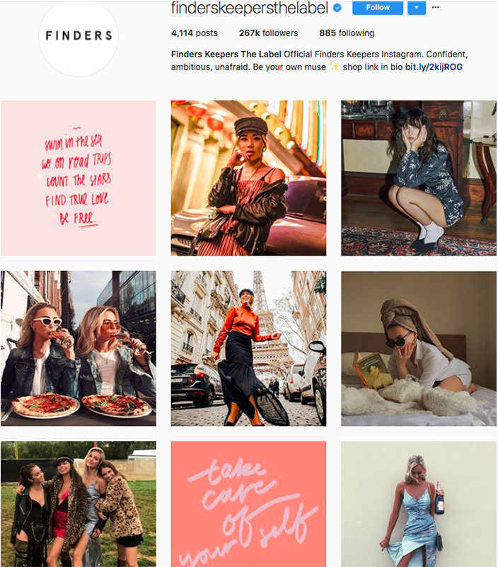 who to follow on instagram, australian clothing brands instagram, instagram marketing, best instagrams to follow, @finderskeepersthelabel