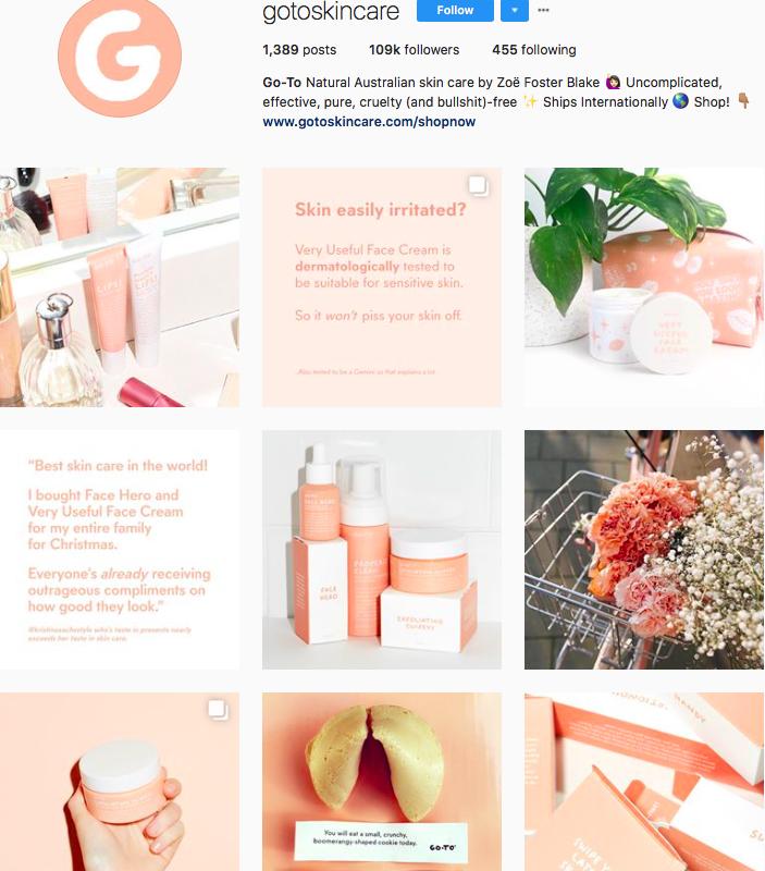 who to follow on instagram, australian clothing brands instagram, instagram marketing, best instagrams to follow, @gotoskincare