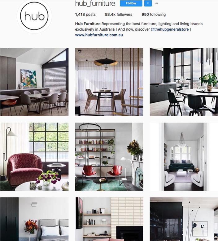 who to follow on instagram, australian clothing brands instagram, instagram marketing, best instagrams to follow, @hub_furniture
