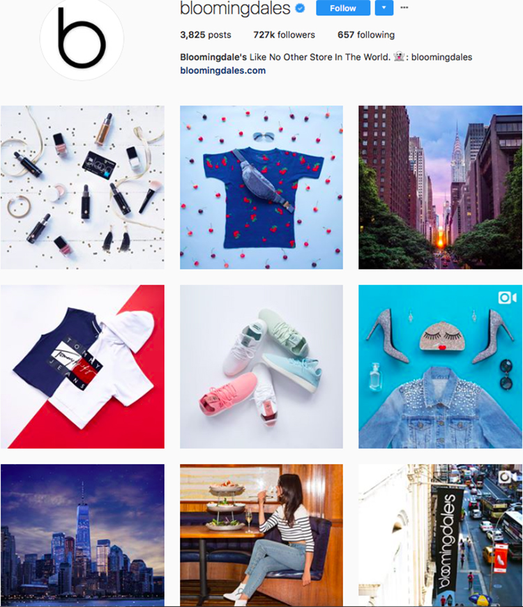 bloomingdales, who to follow on instagram, best big name retailers, social media marketing