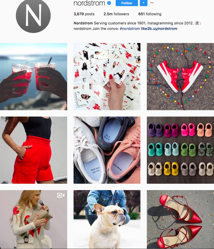 nordstrom, who to follow on instagram, best big name retailers, social media marketing