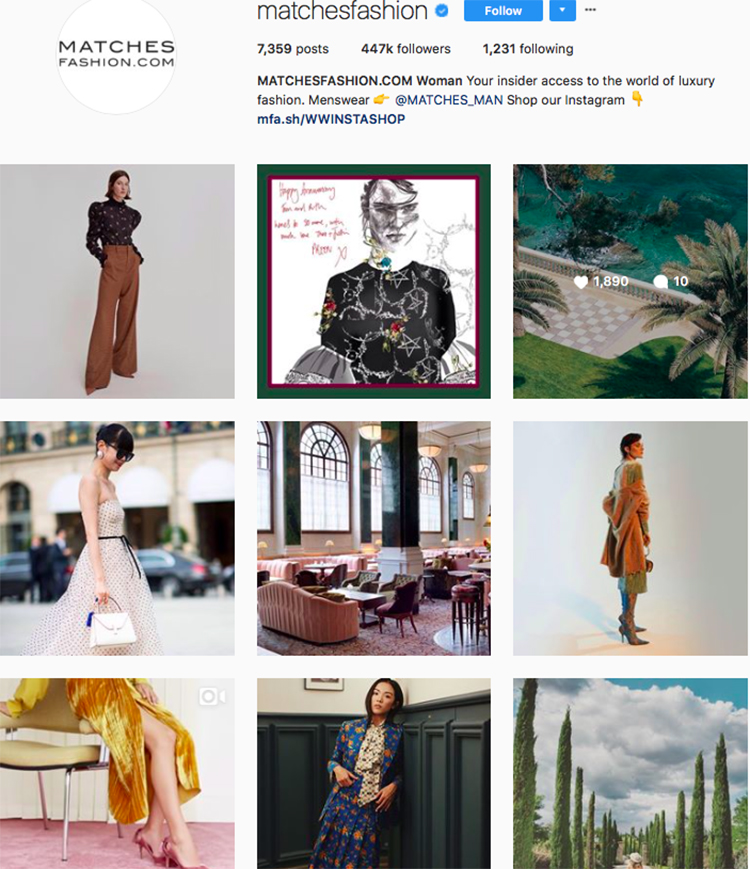 matches fashion, who to follow on instagram, best big name retailers, social media marketing