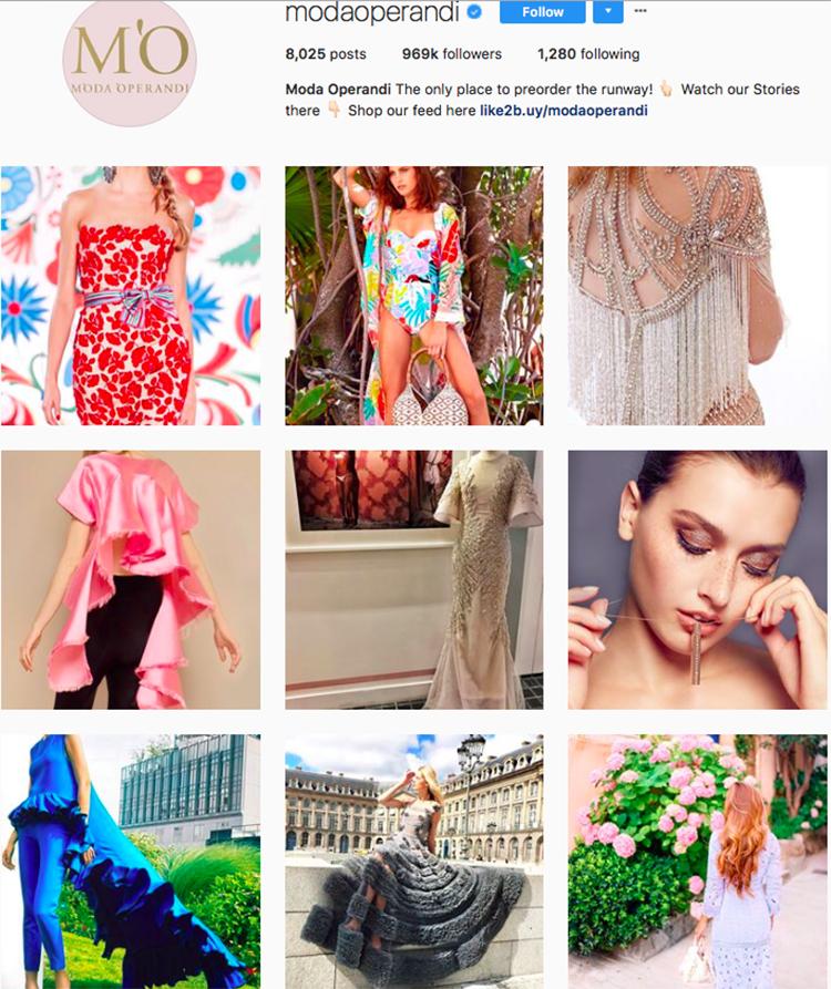 moda operandi, who to follow on instagram, best big name retailers, social media marketing