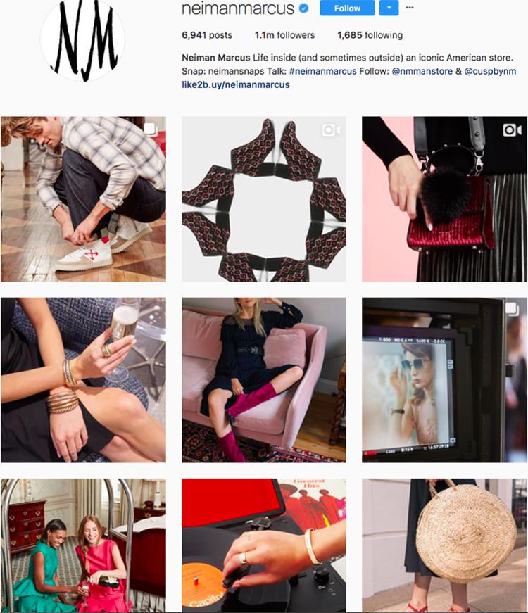 neimanmarcus, who to follow on instagram, best big name retailers, social media marketing
