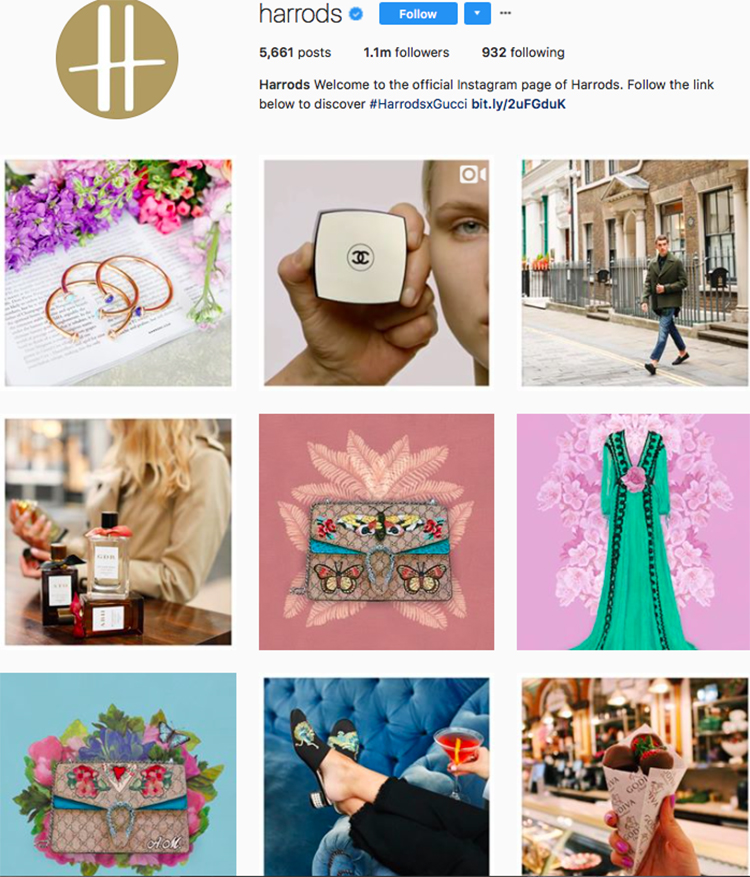 harrods, who to follow on instagram, best big name retailers, social media marketing