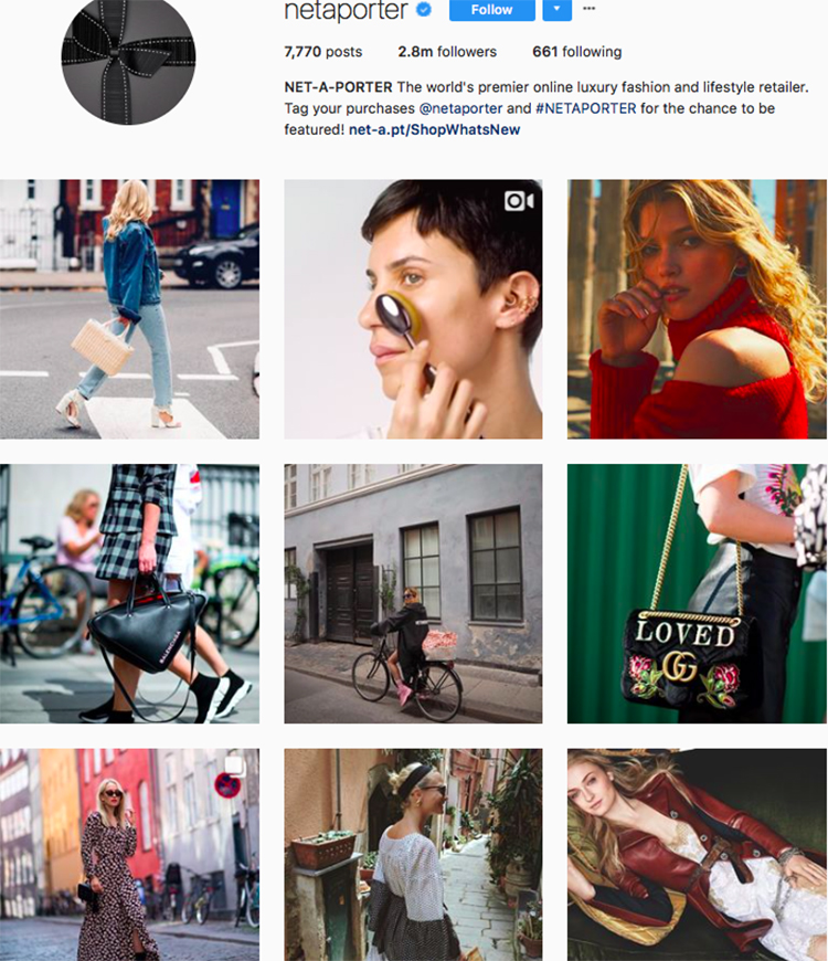 net-a-porter, who to follow on instagram, best big name retailers, social media marketing