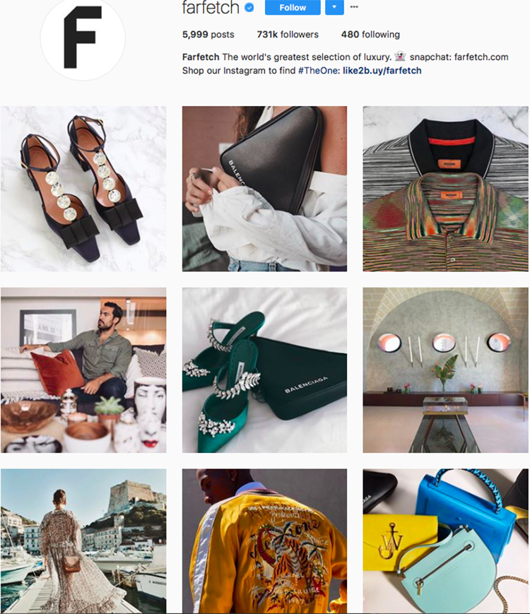farfetch, who to follow on instagram, best big name retailers, social media marketing