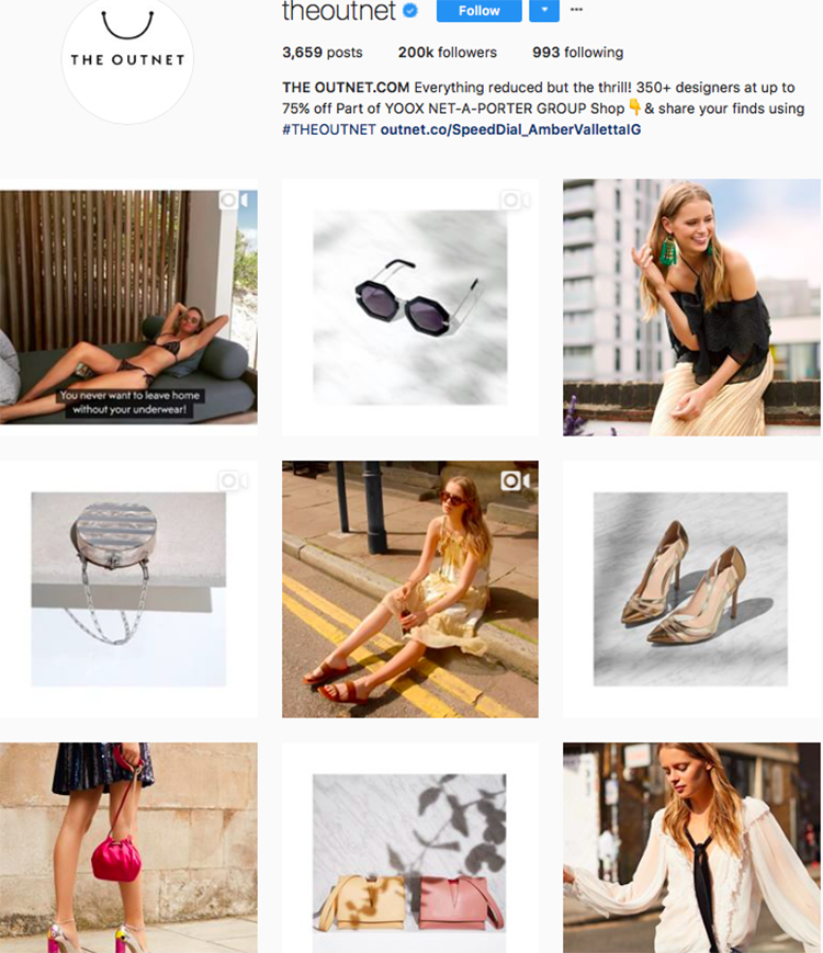the outnet, who to follow on instagram, best big name retailers, social media marketing