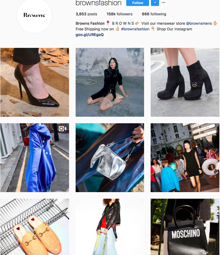 browns fashion, who to follow on instagram, best big name retailers, social media marketing