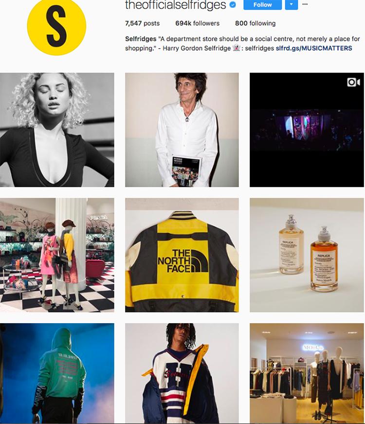 selfridges, who to follow on instagram, best big name retailers, social media marketing