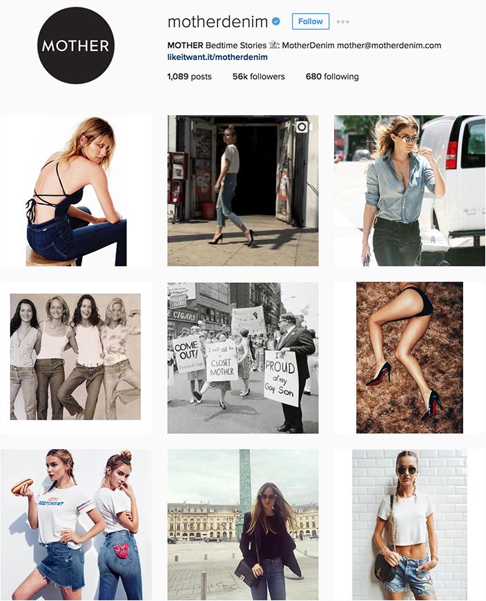 Mother Denim Instagram best denim accounts to follow
