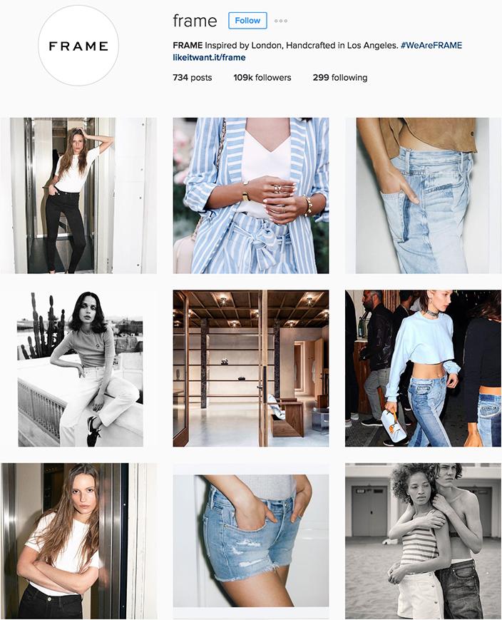 Frame Instagram best denim accounts to follow